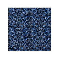 Damask2 Black Marble & Blue Marble Small Satin Scarf (square) by trendistuff