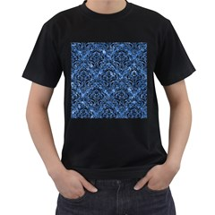 Damask1 Black Marble & Blue Marble (r) Men s T Shirt (black) (two Sided)