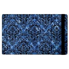Damask1 Black Marble & Blue Marble (r) Apple Ipad 2 Flip Case by trendistuff