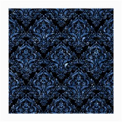 Damask1 Black Marble & Blue Marble Medium Glasses Cloth (2 Sides) by trendistuff
