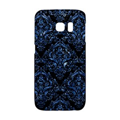 Damask1 Black Marble & Blue Marble Samsung Galaxy S6 Edge Hardshell Case by trendistuff