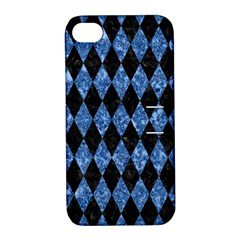 Diamond1 Black Marble & Blue Marble Apple Iphone 4/4s Hardshell Case With Stand by trendistuff