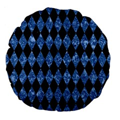 Diamond1 Black Marble & Blue Marble Large 18  Premium Flano Round Cushion  by trendistuff