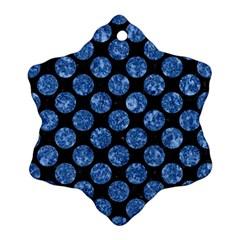 Circles2 Black Marble & Blue Marble (r) Ornament (snowflake) by trendistuff