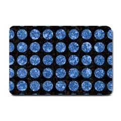 Circles1 Black Marble & Blue Marble (r) Small Doormat by trendistuff