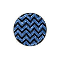 Chevron9 Black Marble & Blue Marble (r) Hat Clip Ball Marker by trendistuff