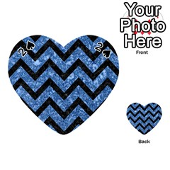 Chevron9 Black Marble & Blue Marble (r) Playing Cards 54 (heart) by trendistuff