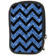 Chevron9 Black Marble & Blue Marble (r) Compact Camera Leather Case by trendistuff