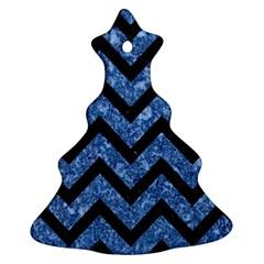 Chevron9 Black Marble & Blue Marble (r) Ornament (christmas Tree)  by trendistuff