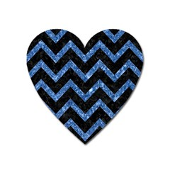 Chevron9 Black Marble & Blue Marble Magnet (heart) by trendistuff
