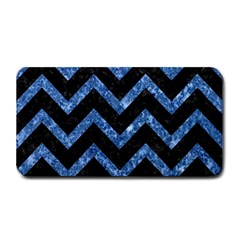 Chevron9 Black Marble & Blue Marble Medium Bar Mat by trendistuff