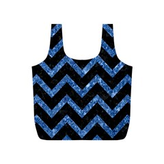 Chevron9 Black Marble & Blue Marble Full Print Recycle Bag (s) by trendistuff