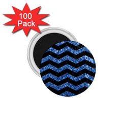 Chevron3 Black Marble & Blue Marble 1 75  Magnet (100 Pack)  by trendistuff