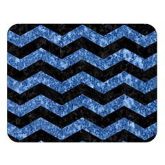Chevron3 Black Marble & Blue Marble Double Sided Flano Blanket (large) by trendistuff