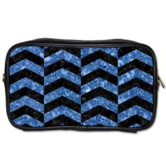Chevron2 Black Marble & Blue Marble Toiletries Bag (two Sides) by trendistuff