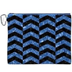 Chevron2 Black Marble & Blue Marble Canvas Cosmetic Bag (xxxl) by trendistuff