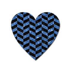 Chevron1 Black Marble & Blue Marble Magnet (heart) by trendistuff