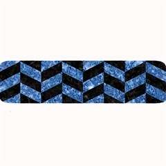 Chevron1 Black Marble & Blue Marble Large Bar Mat by trendistuff