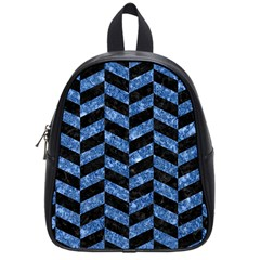 Chevron1 Black Marble & Blue Marble School Bag (small) by trendistuff