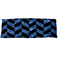 Chevron1 Black Marble & Blue Marble Body Pillow Case (dakimakura) by trendistuff