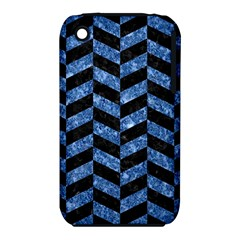 Chevron1 Black Marble & Blue Marble Apple Iphone 3g/3gs Hardshell Case (pc+silicone) by trendistuff