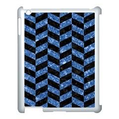 Chevron1 Black Marble & Blue Marble Apple Ipad 3/4 Case (white) by trendistuff