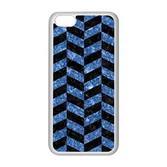 Chevron1 Black Marble & Blue Marble Apple Iphone 5c Seamless Case (white) by trendistuff