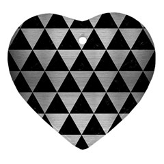 Triangle3 Black Marble & Silver Brushed Metal Ornament (heart) by trendistuff