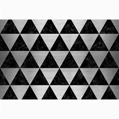 Triangle3 Black Marble & Silver Brushed Metal Collage 12  X 18  by trendistuff