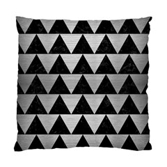 Triangle2 Black Marble & Silver Brushed Metal Standard Cushion Case (one Side) by trendistuff