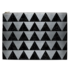 Triangle2 Black Marble & Silver Brushed Metal Cosmetic Bag (xxl) by trendistuff