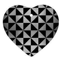 Triangle1 Black Marble & Silver Brushed Metal Heart Ornament (two Sides) by trendistuff
