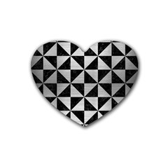 Triangle1 Black Marble & Silver Brushed Metal Rubber Heart Coaster (4 Pack) by trendistuff