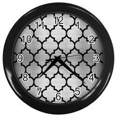Tile1 Black Marble & Silver Brushed Metal (r) Wall Clock (black) by trendistuff