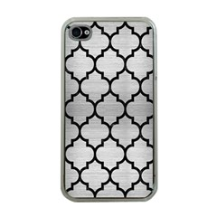 Tile1 Black Marble & Silver Brushed Metal (r) Apple Iphone 4 Case (clear) by trendistuff