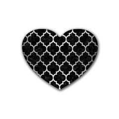 Tile1 Black Marble & Silver Brushed Metal Rubber Coaster (heart) by trendistuff