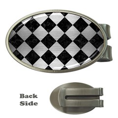 Square2 Black Marble & Silver Brushed Metal Money Clip (oval) by trendistuff
