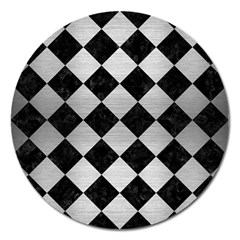 Square2 Black Marble & Silver Brushed Metal Magnet 5  (round) by trendistuff