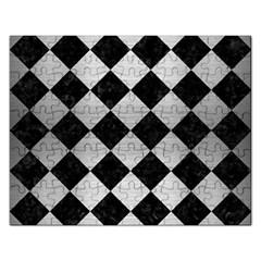 Square2 Black Marble & Silver Brushed Metal Jigsaw Puzzle (rectangular) by trendistuff