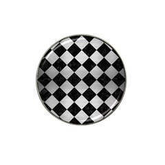 Square2 Black Marble & Silver Brushed Metal Hat Clip Ball Marker (4 Pack) by trendistuff