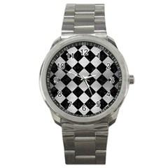 Square2 Black Marble & Silver Brushed Metal Sport Metal Watch by trendistuff