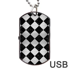 Square2 Black Marble & Silver Brushed Metal Dog Tag Usb Flash (two Sides) by trendistuff