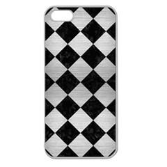 Square2 Black Marble & Silver Brushed Metal Apple Seamless Iphone 5 Case (clear) by trendistuff