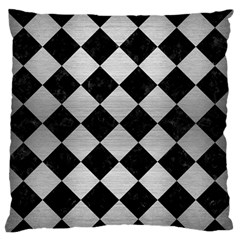 Square2 Black Marble & Silver Brushed Metal Standard Flano Cushion Case (two Sides) by trendistuff