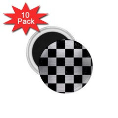 Square1 Black Marble & Silver Brushed Metal 1 75  Magnet (10 Pack)  by trendistuff