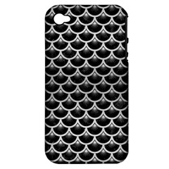 Scales3 Black Marble & Silver Brushed Metal Apple Iphone 4/4s Hardshell Case (pc+silicone) by trendistuff