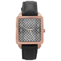 Scales2 Black Marble & Silver Brushed Metal (r) Rose Gold Leather Watch  by trendistuff