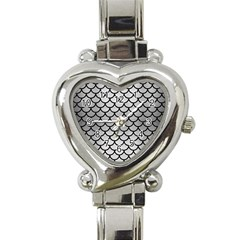 Scales1 Black Marble & Silver Brushed Metal (r) Heart Italian Charm Watch by trendistuff