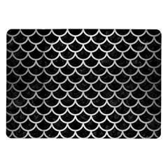 Scales1 Black Marble & Silver Brushed Metal Samsung Galaxy Tab 10 1  P7500 Flip Case by trendistuff
