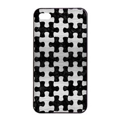 Puzzle1 Black Marble & Silver Brushed Metal Apple Iphone 4/4s Seamless Case (black) by trendistuff